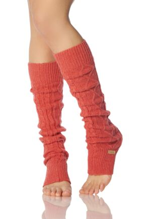 Ladies 1 Pair ToeSox Dance and Yoga Legwarmers Coral OS