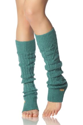 Ladies 1 Pair ToeSox Dance and Yoga Legwarmers Forest Green OS