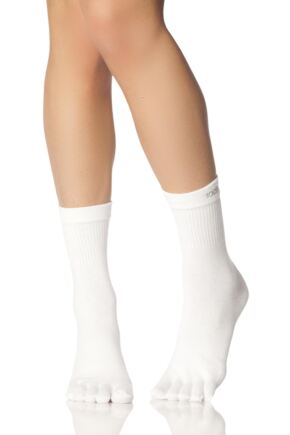 Mens and Ladies 1 Pair ToeSox Lightweight Full Toe Crew Sports Socks In White White 9-10.5