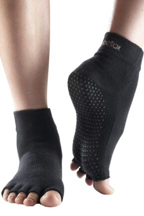Mens and Ladies 1 Pair ToeSox Half Toe Organic Cotton Ankle Yoga Socks In Black Black 6-8.5