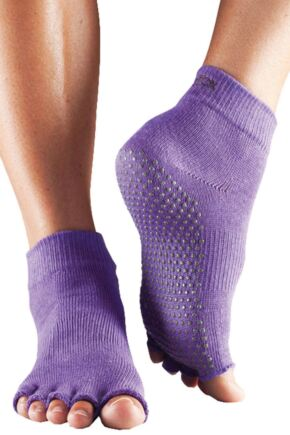 Mens and Ladies 1 Pair ToeSox Half Toe Organic Cotton Ankle Yoga Socks In Light Purple Light Purple 3-5.5