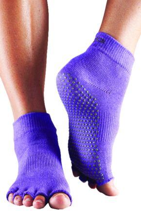 Mens and Ladies 1 Pair ToeSox Half Toe Organic Cotton Ankle Yoga Socks In Light Purple Light Purple 9-10.5