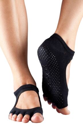 Ladies 1 Pair ToeSox Bella Half Toe Organic Cotton Open Front Yoga Socks In Black Black 6-8.5