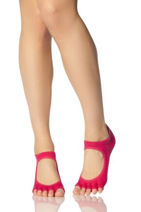 Ladies 1 Pair ToeSox Bella Half Toe Organic Cotton Open Front Yoga Socks In Fuchsia Fuchsia 6-8.5