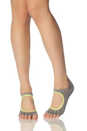 Ladies 1 Pair ToeSox Bella Half Toe Organic Cotton Open Front Yoga Socks Heather / Lime 6-8.5