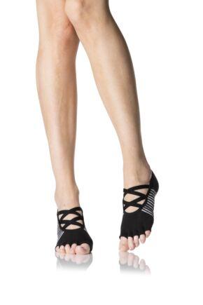 Ladies 1 Pair ToeSox Ballet Cross Half Toe Socks With Grip