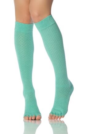 Ladies 1 Pair ToeSox Scrunch Half Toe Organic Cotton Fishnet Knee High Socks Lagoon 6-8.5