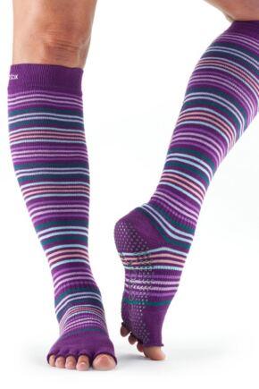 Ladies 1 Pair ToeSox Scrunch Half Toe Organic Cotton Knee High Socks Phlox Medium