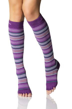 Ladies 1 Pair ToeSox Scrunch Half Toe Organic Cotton Knee High Socks