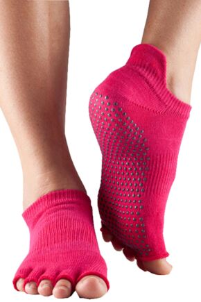 Ladies 1 Pair ToeSox Half Toe Organic Cotton Low Rise Yoga Socks In Fuchsia Fuchsia 6-8.5