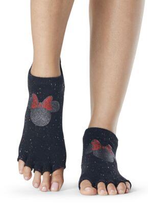 Ladies 1 Pair ToeSox Disney Half Toe Confetti Minnie Low Rise Socks