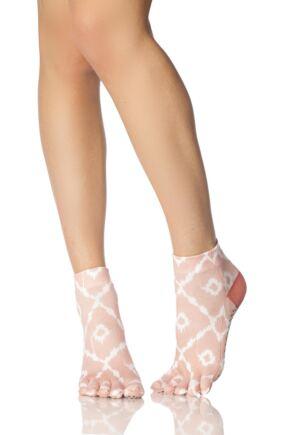 Mens and Ladies 1 Pair ToeSox Full Toe Organic Cotton Ankle Yoga Socks Shine 6-8.5