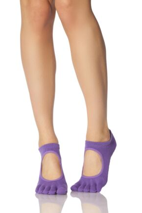 Ladies 1 Pair ToeSox Bella Full Toe Organic Cotton Open Front Yoga Socks Purple 6-8.5