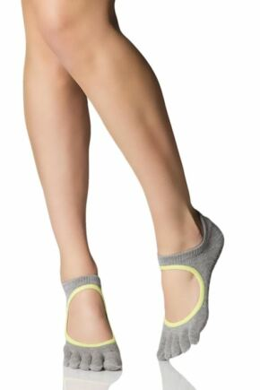 Ladies 1 Pair ToeSox Bellarina Full Toe Organic Cotton Open Front Yoga Socks