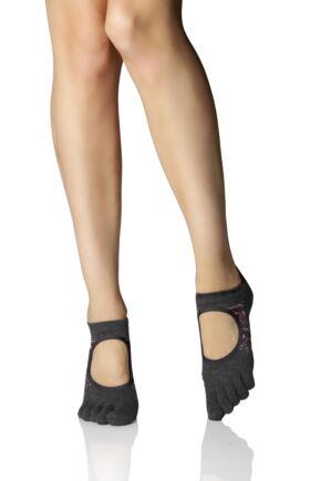 Ladies 1 Pair ToeSox Bellarina Full Toe Organic Cotton Open Front Yoga Socks
