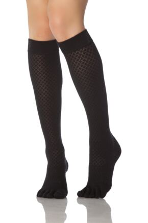 Ladies 1 Pair ToeSox Casual Organic Cotton Fishnet Full Toe Knee High Socks
