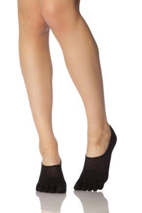 Ladies 1 Pair ToeSox Full Toe Dash Low Rise Socks Black Fishnet 6-8.5