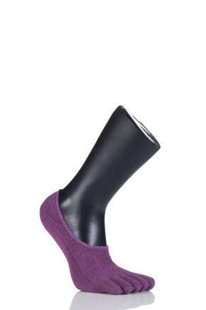 Ladies 1 Pair ToeSox Full Toe Dash Low Rise Fishnet Socks Violet 3-5.5
