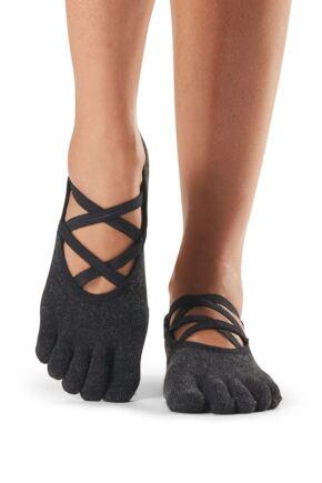 Ladies 1 Pair ToeSox Ballet Cross Full Toe Socks With Grip