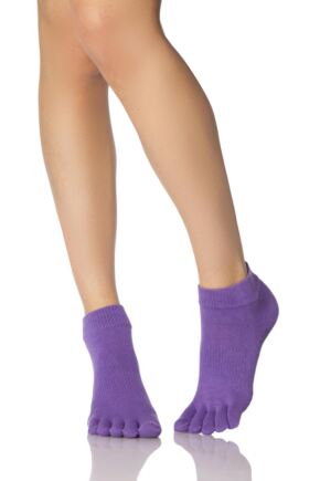 Ladies 1 Pair ToeSox Low Rise Full Toe Organic Cotton Socks Light Purple 3-5.5