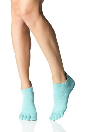 Ladies 1 Pair ToeSox Full Toe Organic Cotton Low Rise Yoga Socks