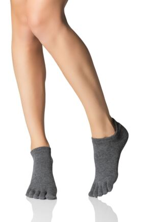 Ladies 1 Pair ToeSox Full Toe Organic Cotton Low Rise Yoga Socks In Fuchsia Charcoal Grey 3-5.5 Unisex