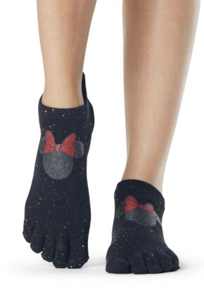 Ladies 1 Pair ToeSox Disney Full Toe Confetti Minnie Low Rise Socks