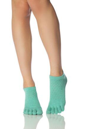 Ladies 1 Pair ToeSox Full Toe Organic Cotton Low Rise Fishnet Yoga Socks Lagoon 6-8.5