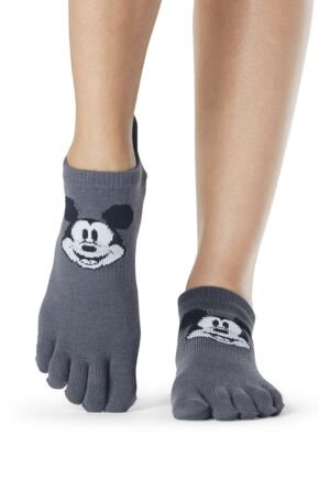 Ladies 1 Pair ToeSox Disney Full Toe Mickey Cheer Socks