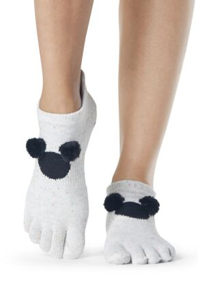 Ladies 1 Pair ToeSox Disney Full Toe PomPom Mickey Low Rise Socks