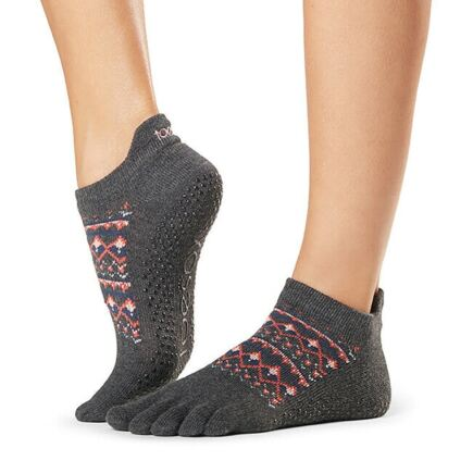 Ladies 1 Pair ToeSox Full Toe Organic Cotton Low Rise Yoga Socks