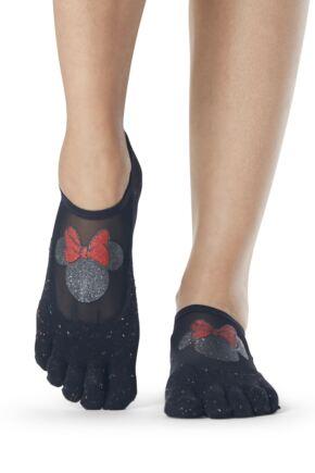 Ladies 1 Pair ToeSox Disney Full Toe Confetti Minnie Mesh Socks