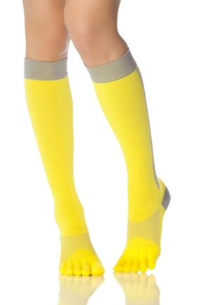 Ladies 1 Pair ToeSox Compression Full Toe Knee High Socks Daylight 3-5.5