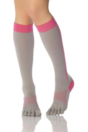 Ladies 1 Pair ToeSox Compression Full Toe Knee High Socks Flush 3-5.5