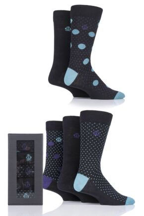 Mens 5 Pair Jeff Banks Assorted Cotton Gift Boxed Socks