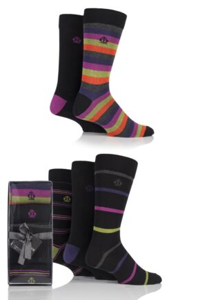 Mens 5 Pair Jeff Banks Mixed Stripe and Plain Cotton Socks In Gift Box