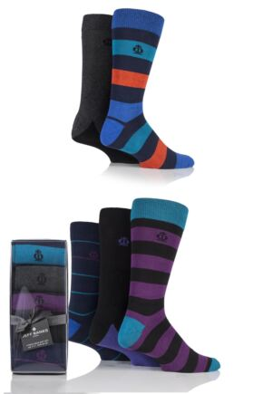Mens 5 Pair Jeff Banks Stripes and Plain Cotton Socks In Gift Box Assorted 7-11
