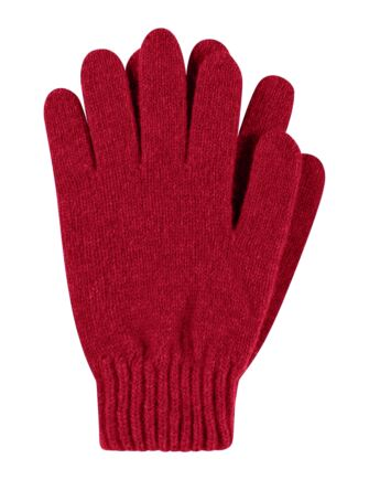 Ladies 1 Pair Great & British Knitwear Made In Scotland 100% Cashmere Plain Gloves In Red