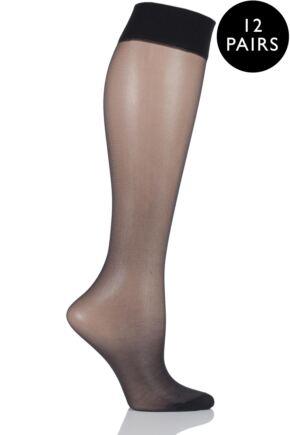 Ladies 12 Pair SockShop 15 Denier Sheer Matt Knee Highs