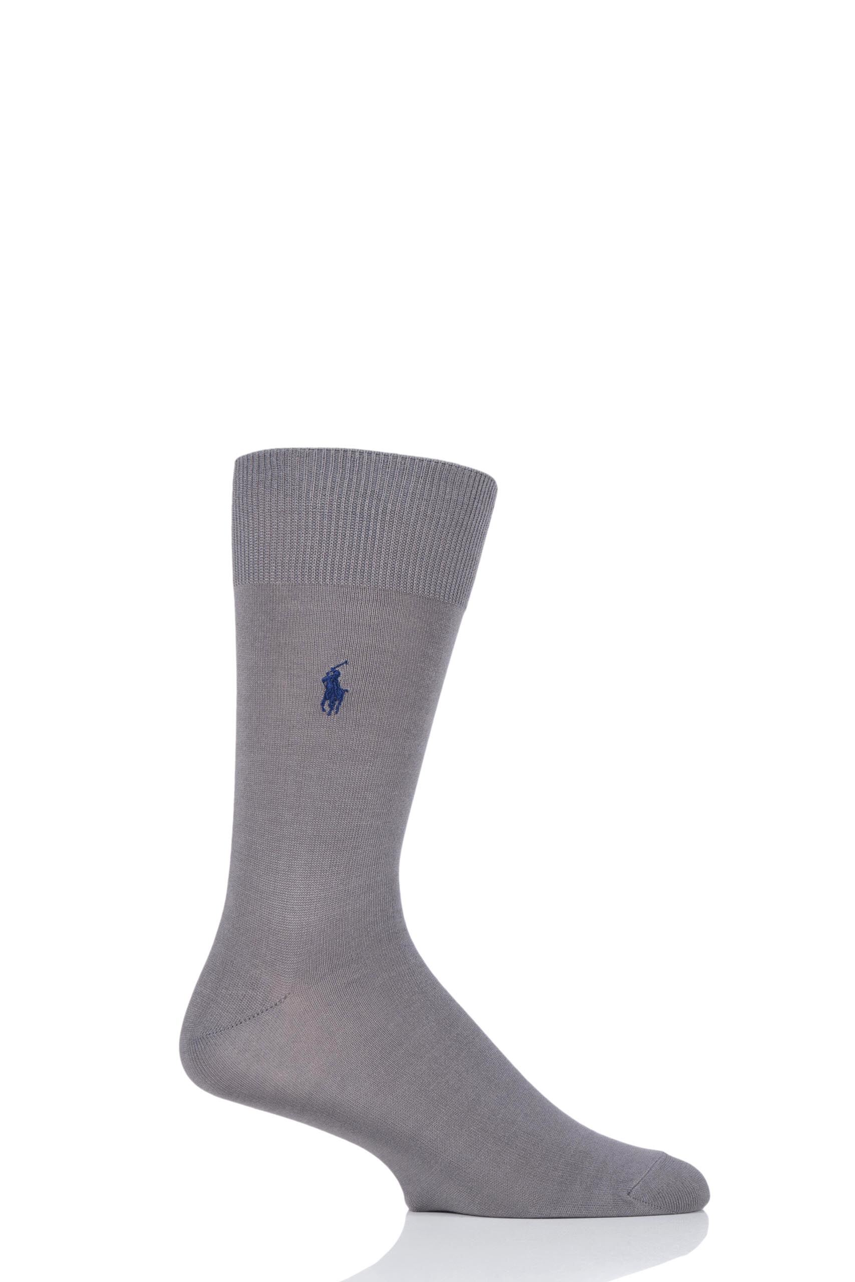 Image of 1 Pair Pewter Embroidered Crew Cotton Socks Men's 9-12 Mens - Ralph Lauren