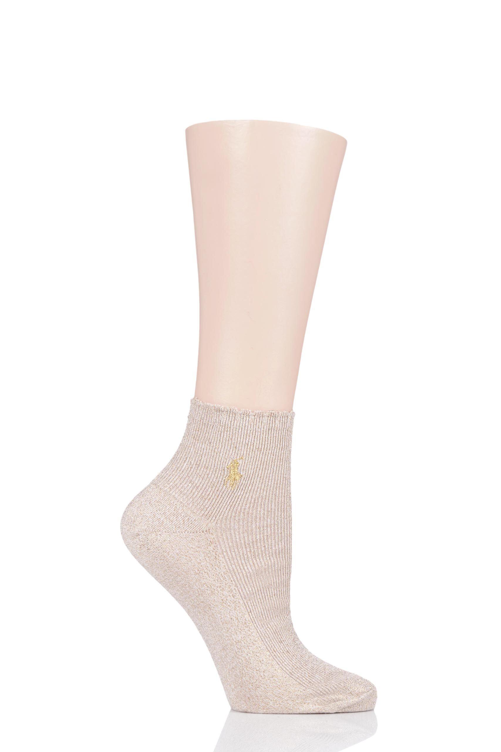 Image of 1 Pair Ivory Scallop Top Lurex Ankle Socks Ladies 4-7 Ladies - Ralph Lauren