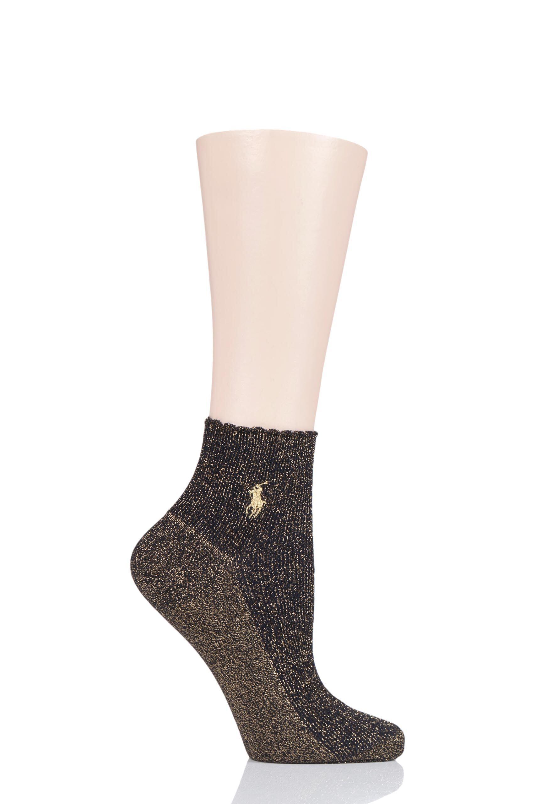 Image of 1 Pair Black Scallop Top Lurex Ankle Socks Ladies 4-7 Ladies - Ralph Lauren