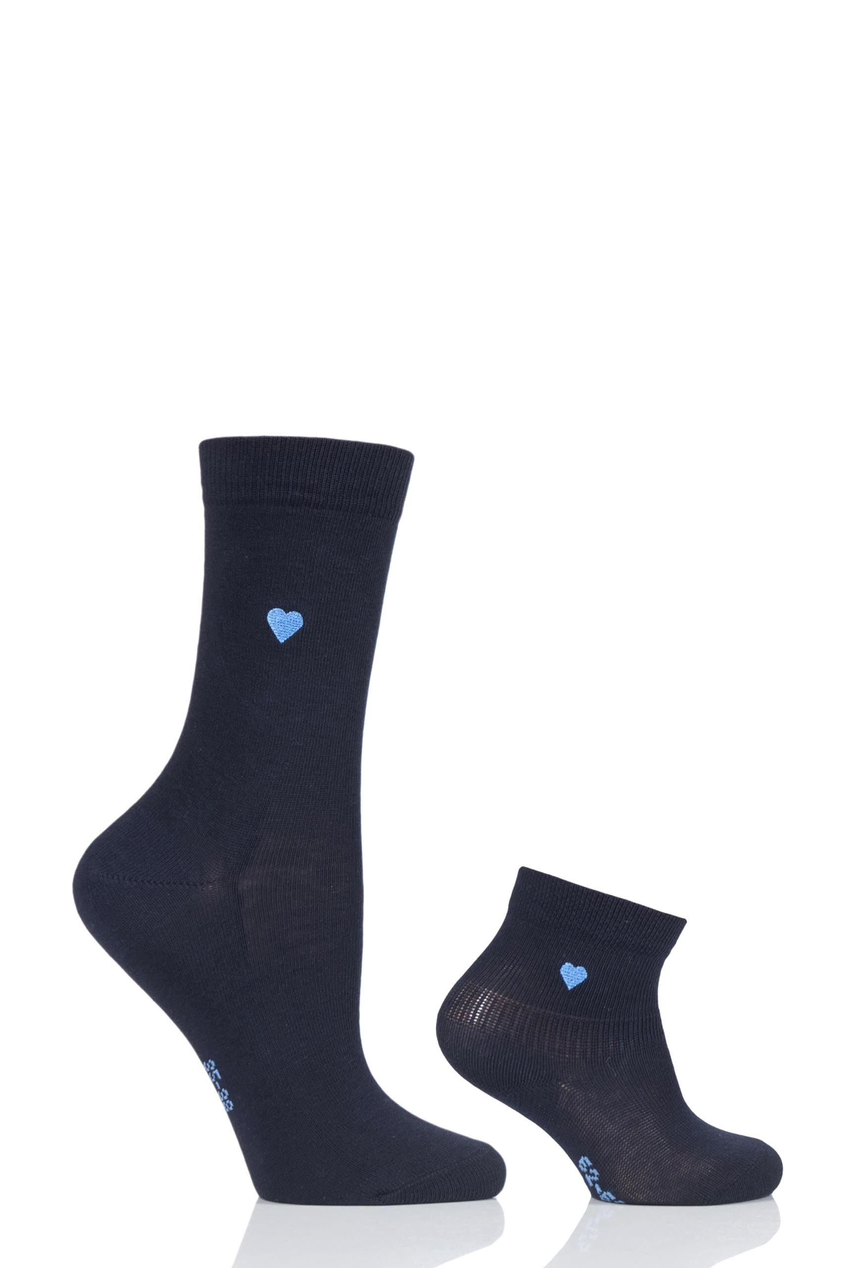 Image of 1 Pack Navy Mini Me Set Woand Babies Matching Socks Ladies and Kids 2.5-5 Ladies (1-6 Months Baby) - Falke