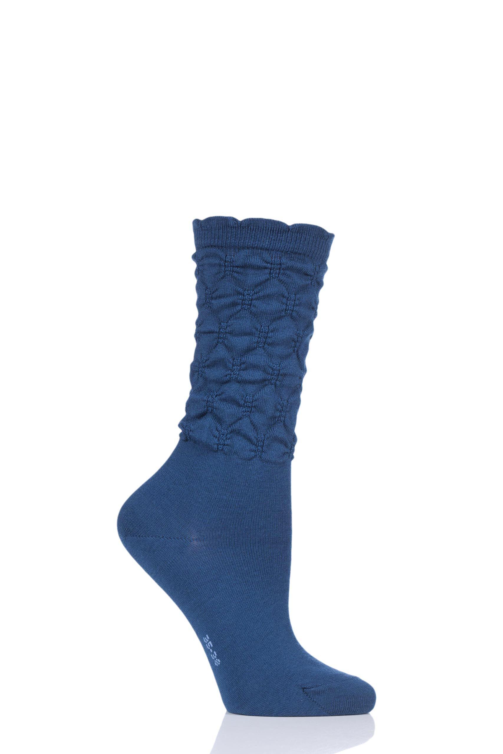 1 pair night sky crumpled diamond rib virgin wool socks ladies 5.5-8 ladies - falke