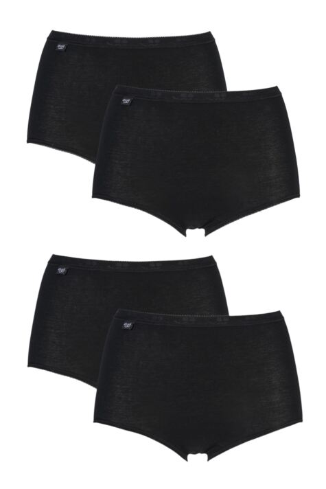 Sloggi Size 10 Basic Cotton Midi Knickers Panties Briefs Black