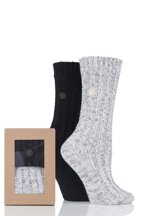 Ladies 2 Pair Birkenstock Gift Boxed Cotton Twist Chunky Ribbed Socks Product Image