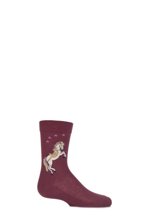 Girls 1 Pair Falke White Horse Cotton Socks Product Image