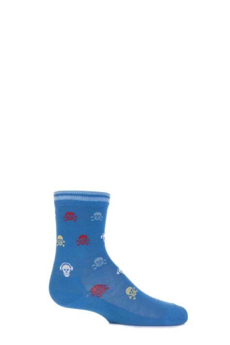 Boys 1 Pair Falke Skull and Cross Bone with Headphones Cotton Socks Product Image
