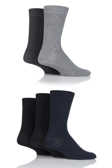 Mens 5 Pair Jack & Jones Jens Plain Cotton Socks Product Image