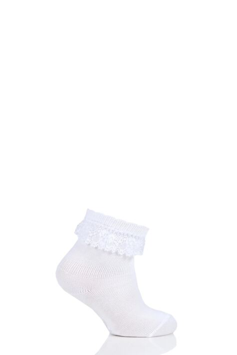 Baby Girls 1 Pair Falke Romantic Lace Trim with Scalloped Cuff Anklet Socks Product Image